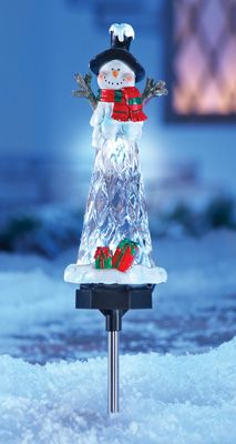 Solar Lighted Snowman Icicle Garden Yard Stake