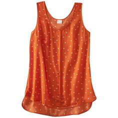 Merona Women's Polka Dot Sleeveless Top -Flame Red ($20) ❤ liked on Polyvore featuring tops, shirts, clothing - tops, sleeveless tops, women's clothing, red tank, red top, red polka dot shirt and sweater pullover