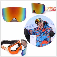 49a452bfe4 [US$43.86] VECTOR Snowboard Skate Snow Ski Goggles Adult Double Lens  Polarization Anti Fog Anit UV400 Scratch Resistant #vector #snowboard  #skate #snow ...