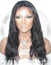 Black Bodywave Human Hair Full Lace Wig - 16 Inch