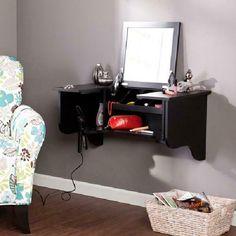 Ideas Diy Makeup Storage Wall Hair Dryer For 2019 Wall Mounted Makeup Organizer, Makeup Storage Wall, Wall Mounted Vanity, Diy Makeup Organizer, Shoe Storage, Vanity Set With Mirror, Diy Vanity, Vanity Bathroom, Bathroom Wall