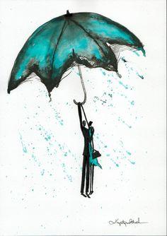 Abstrakcja deszczowa ulica ręcznie malowany obraz kobieta z | Etsy Rain Street, Rainy Days, Wind Chimes, Art For Kids, 1, Romantic, Drawings, Illustration, Outdoor Decor