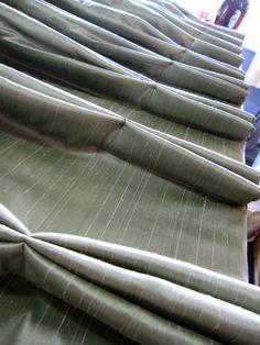 Interlined faux silk pleats