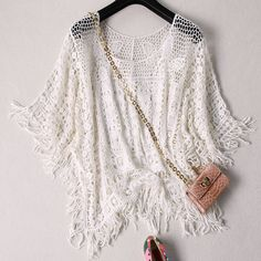 Fashion Women Floral Loose Crochet Sleeve Lace Sexy Tee Top Shirt Blouse #Unbrand #Blouse #Party