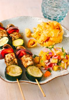 jerk paneer & vegetable kebabs with pineapple-mango salsa