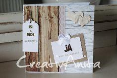 Einladungskarte Hochzeit VINTAGE Holz von CreativAnita auf DaWanda.com