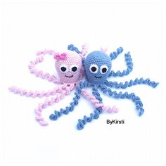 I suggest making the octopus in cotton so it is easy to clean. However you can use any type of yarn and a matching hook.