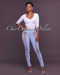 Chic Couture Online - Jolynn Light Wash Lace Up Denim Jeans,  (http://www.chiccoutureonline.com/jolynn-light-wash-lace-up-denim-jeans/)