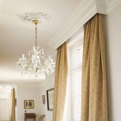 Cornice melds with Ceiling Crown Molding idea - will hide traverse rod with sheers nicely! Pelmet Box, Window Cornices, Window Coverings, Curtain Box, Curtain Pelmet, Valance, Curtain Panels, Bedroom Window Dressing, Kitchen Window Dressing
