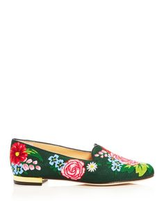 Charlotte Olympia Rose Garden Embroidered Smoking Slippers | Cotton upper, leather lining, leather and synthetic sole | Made in Italy | Fits true to size, order your normal size | Round toe; slip on | Floral embroidery detailing | Leather trim at topline | Hardware detail at heel | Web ID:2578001