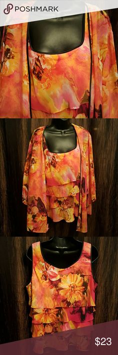 "2pc Beautiful Bright colors. Ruffle around sleeveless Blouse with matching sheer cover blazer.  Blouse Length 23"", Bust measures up too 42 Blazer length  31"" Women's Alex Evenings Tops Blouses"