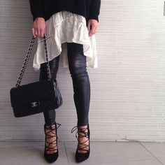 Dress layered with leather leggings and lace-ups /// Leather and lace by tashsefton