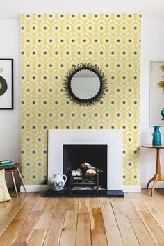 Sunny Flower is a fun and vibrant Layla Faye wallpaper design, featuring a repeated motif