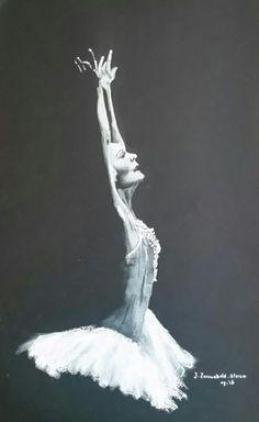 Prima balerina...Wit pastel op zwart papier. Kunst van het weglaten... 30x45 cm