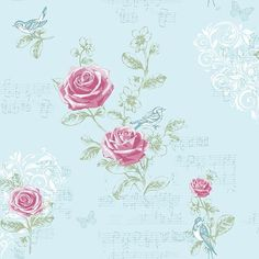 Jenny Wren - DuckEgg - Rose - Bird - Butterfly - Music - Shabby Chic - Wallpaper #Interiors