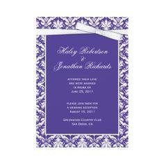 Purple and White Damask Post Wedding Invitation