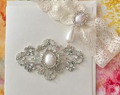 French Lace Wedding Garter with Wedding Shower Bridal Card