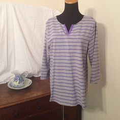 Gray w/purple stripes 3/4 sleeve tunic tee shirt Washed once but never worn Denim & Company Tops Tees - Short Sleeve