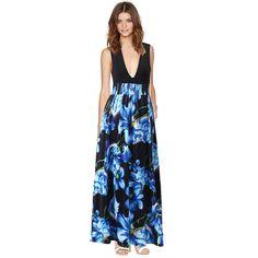 Floral Print Multi-color Sleeveless V Neck Maxi Dress