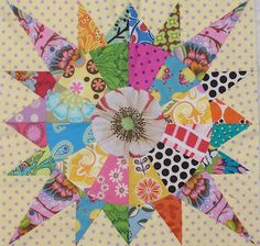 Great use of fabric for the center! #Quilting #Quilt #Fabric