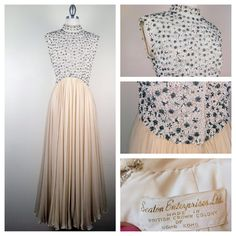 1950s Stunning Silk Chiffon gown with encrusted bodice by Seaton Enterprise #madmen #vintage #fashion #