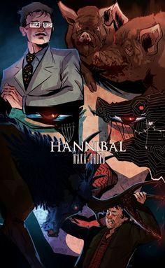 "We are stunned by the-artist-slake's art for tonight's episode of Hannibal, ""Naka-Choko."" Hannibal Tv Series, Nbc Hannibal, Hannibal Lecter, Hannibal Humor, Will Graham Hannibal, Hannibal Rising, City Of God, Sir Anthony, Psychological Horror"