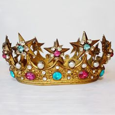 """Shopping for my next """"push"""" present ... I think Baby Boy #3 warrants a sparkly tiara!!  Right?    Antique French Tiara/Crown Jeweled 1900s by ParisCoutureAntiques, $1800.00"""