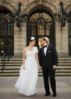 The adorable couple at their Boston Public Library Wedding, photos by Nathan Smith and Angi Welsch for Ira Lippke Studios | junebugweddings.com