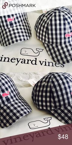 Vineyard Vines Gingham Baseball Cap Super cute navy blue and white gingham baseball hat with pink whale. Perfect addition to any preppy and stylish wardrobe Vineyard Vines Accessories Hats