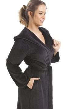 462145ed51 Long Length Supersoft Velour Tie Fastening Bathrobe Features A Hood And  Pockets Available In A Range Of Sizes Knee Length In The Same Design Is  Also ...