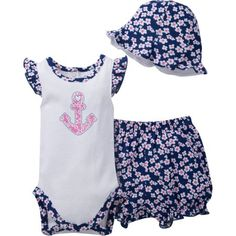 Walmart Baby Girl Clothes Gerber Newborn Baby Girl Bodysuit Bloomer & Hat Outfit Set 3