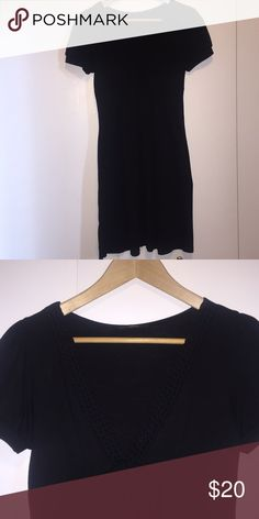 Black vneck dress Cute black dress. Can be dressed up or down. Fun braiding detail around neckline. Empire waist is flattering to all body styles. EUC, I can't find any flaws! Soprano Dresses Mini