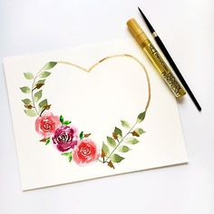 Flower heart wreath - Lilly is Love Simple Watercolor Flowers, Watercolor Flower Wreath, Watercolor Flowers Tutorial, Flower Canvas, Floral Watercolor, Watercolor Beginner, Watercolor Video, Watercolor Heart, Watercolor Cards