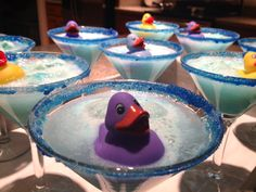"""""""Rubber Ducky Mocktail"""" served this at a baby shower and it was perfect! It is a blue raspberry """"foamy"""" mocktail with blue sugar rimmer"""
