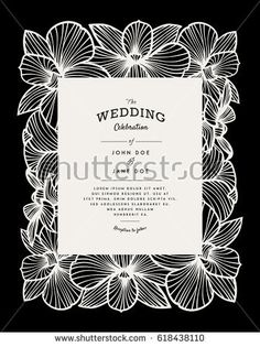 Laser cut vector wedding invitation with orchid flowers for decorative panel