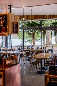 :: PODIUM CAFE :: 'Podium Cafe' - Karapiro Lakeside rustic cafe in Cambridge, NZ. World class rowing venue. Lakeside Cafe, Rustic Cafe, Commercial Architecture, Rowing, Cambridge, Table, Projects, Furniture, Home Decor