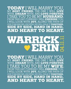 Your Wedding Vows Modern Graphic Typography By ErinReaDesign 4000 I Like The Set Up