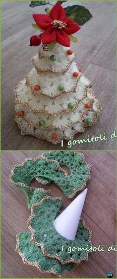 Crochet Lace Petal Christmas Tree Free Pattern - Crochet Christmas Tree Free Patterns #CrochetIdeas