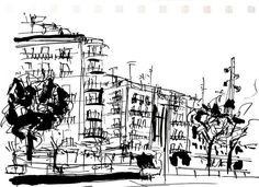 sketchbook paisajes tinta china negra