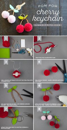 Tutorial for making a cherry pom-pom keychain. Tutorial for making a cherry pom-pom keychai. Pom Pom Crafts, Yarn Crafts, Diy And Crafts, Crafts For Kids, Pom Pom Diy, Preschool Crafts, Kids Diy, Pom Pom Garland, Creative Crafts