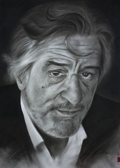 ROBERT DE NIRO carboncillo 50x65  Retrato realizado poe el artista Jorge Menat