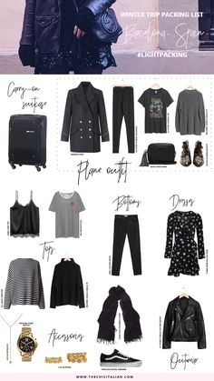 Winter packing list to pack light for your next winter trip! This light packing list is for four days in the winter season & can fit in a carry-on. I took these items with me on my trip to Barcelona!