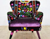 Suzani armchair purple love by namedesignstudio on Etsy Funky Furniture, Colorful Furniture, Painted Furniture, Furniture Design, Funky Chairs, Cool Chairs, Poltrona Vintage, Salon Chairs For Sale, Floral Chair