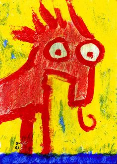 fire ant eater e9Art ACEO Outsider Art Brut Naive Childlike Painting Original  #OutsiderArt