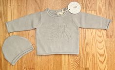 Burt's Bees Baby Girl Knitted Sweater & Hat Set ~ Gray ~ Bee ~ #BurtsBees #Pullover #Everyday