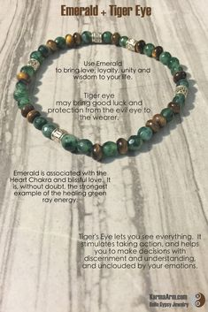 LOVE IN ABUNDANCE: Emerald + Tiger's Eye Yoga Mala Bead Bracelet