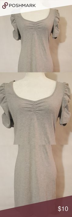 H&M - Fitted V-Neck Tee Dress for Women * H&M * Summer Collection Size:  L Color: Gray Great Gently Used Item!! Quality Brand Name at a Great Savings!! H&M Dresses Midi
