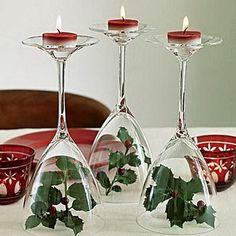 Decoración navideña con copas