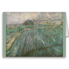Wheat Field in Rain by Vincent Van Gogh Greeting Cards
