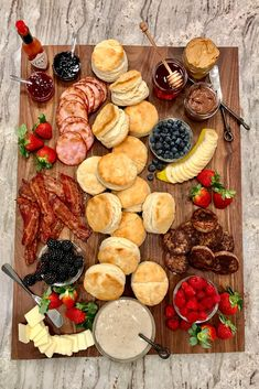 food platters Fix-Your-Own Biscuit Board by The BakerMama Charcuterie Recipes, Charcuterie And Cheese Board, Cheese Boards, Breakfast Platter, Snack Platter, Platter Ideas, Breakfast Casserole, Party Food Platters, Birthday Brunch